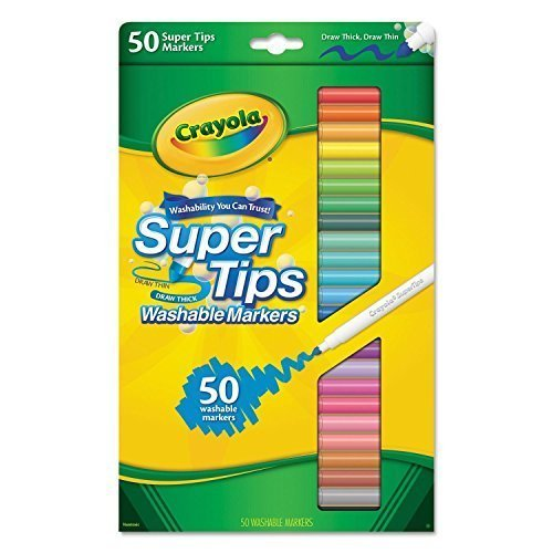 Crayola 50ct Washable Super Tips Markers 50 Color (Crayola Pen)