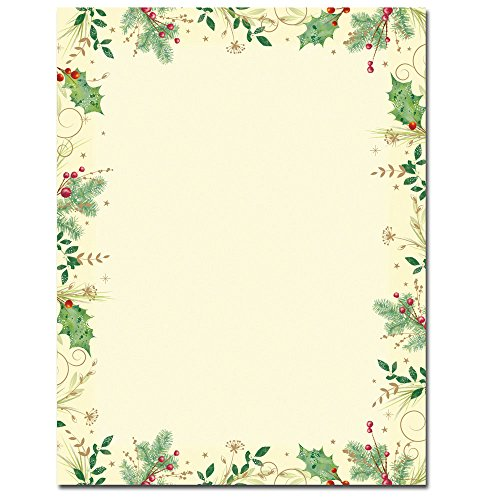 (Holly Branches Christmas Letterhead & Printer Paper)