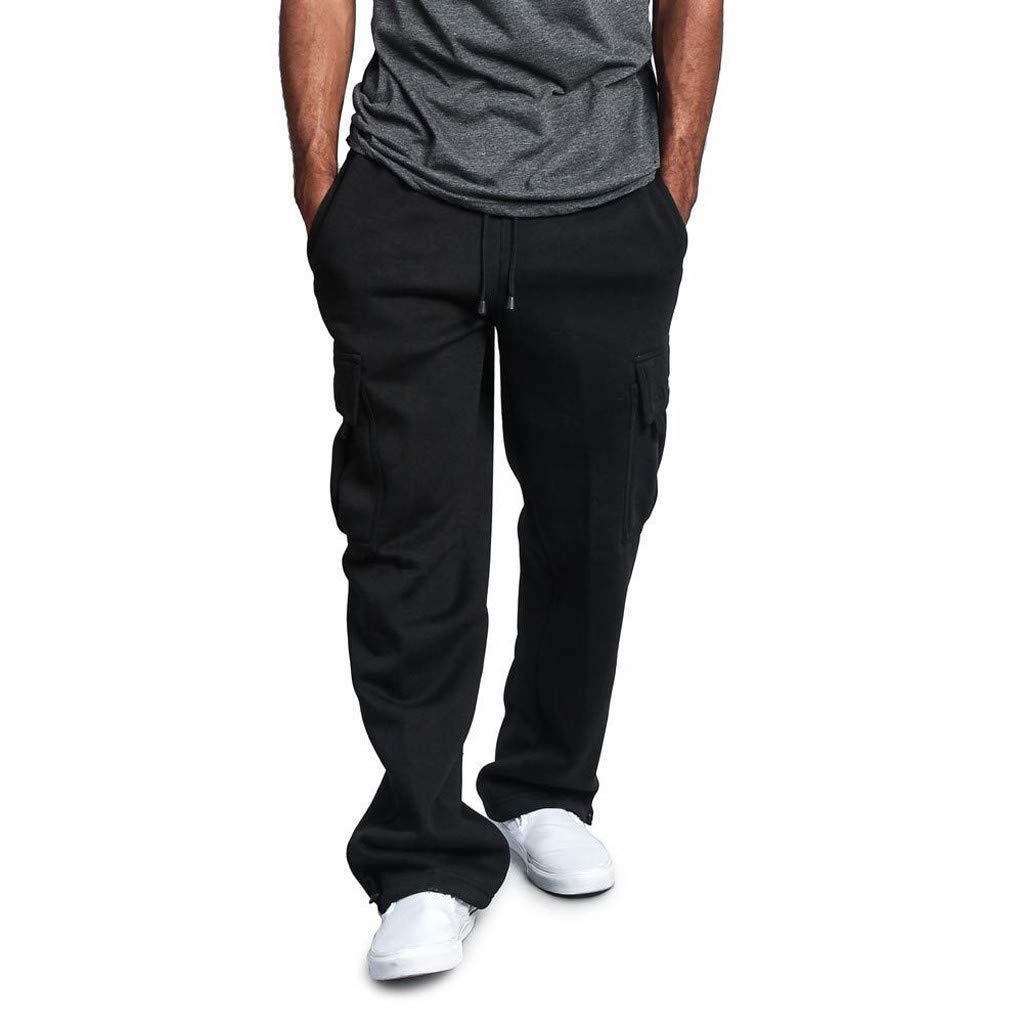 Black Medium Brilliant sun Men's Sweatpants with Pockets Soft Drawstring Jogging Pants Elastic Waist