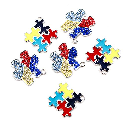 ness Puzzle Charm Pendants Dangle Charms for DIY Jewelry Making Supplies ()