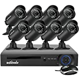 Zclever 8 Channel Security System 1080N AHD DVR Surveillance Security System 8 HD 1200TVLNight Vision Security Cameras No HDD