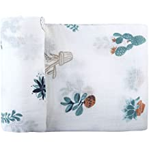 """Swaddle Blankets Muslin -Catus Print Large Size 47""""x 47"""" Receiving Blanket - 70% Bamboo/30% Cotton Gender Neutral Baby Blanket By Little Jump (Potted Plant) (Catus) … (Cactus)"""