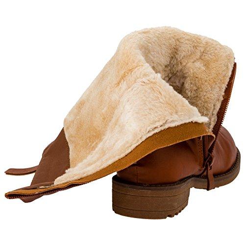 Warme Mädchen Boots Stiefel mit Reissverschluss #126ca Camel