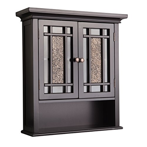 Elegant Home Fashions Whitney Wall Cabinet with 2 Doors and 1 - Java Mirrors Bathroom