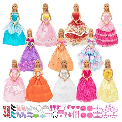 SOTOGO62 조각 인형 의류 및 액세서리 11.5INCH 여자 인형을 포함 12 세트 패션 핸드 인형 옷을 입는 웨딩 드레스 드레스 파티 드레스 의상과 50 조각 인형의 액세서리