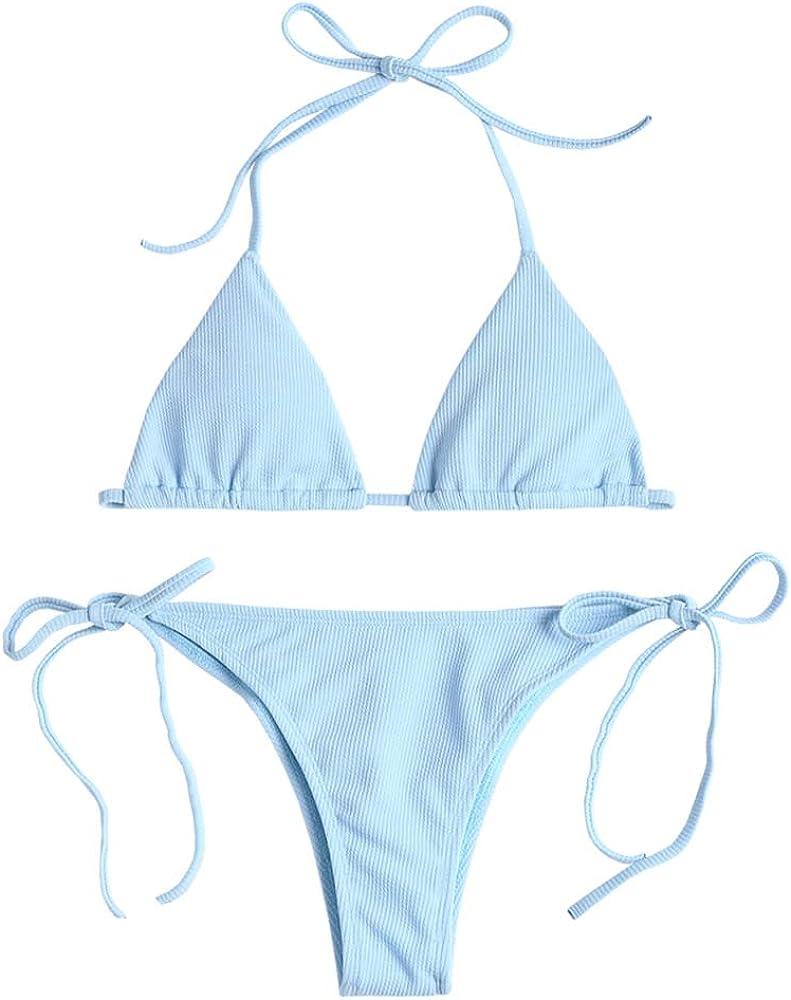 ZAFUL Damen Einfarbiger Gerippter Halter Bikini Gepolsterter Badeanzug Beachwear