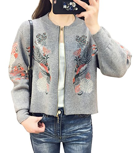 Lisa Pulster レディース カーデ ショート丈 カーディガン ニット ニットカーディガン 刺繍 刺繍カーデ 羽織り アウター