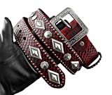 Red Rock Biker Hip Hop Genuine Leather Metal Pin Buckle Men Belt
