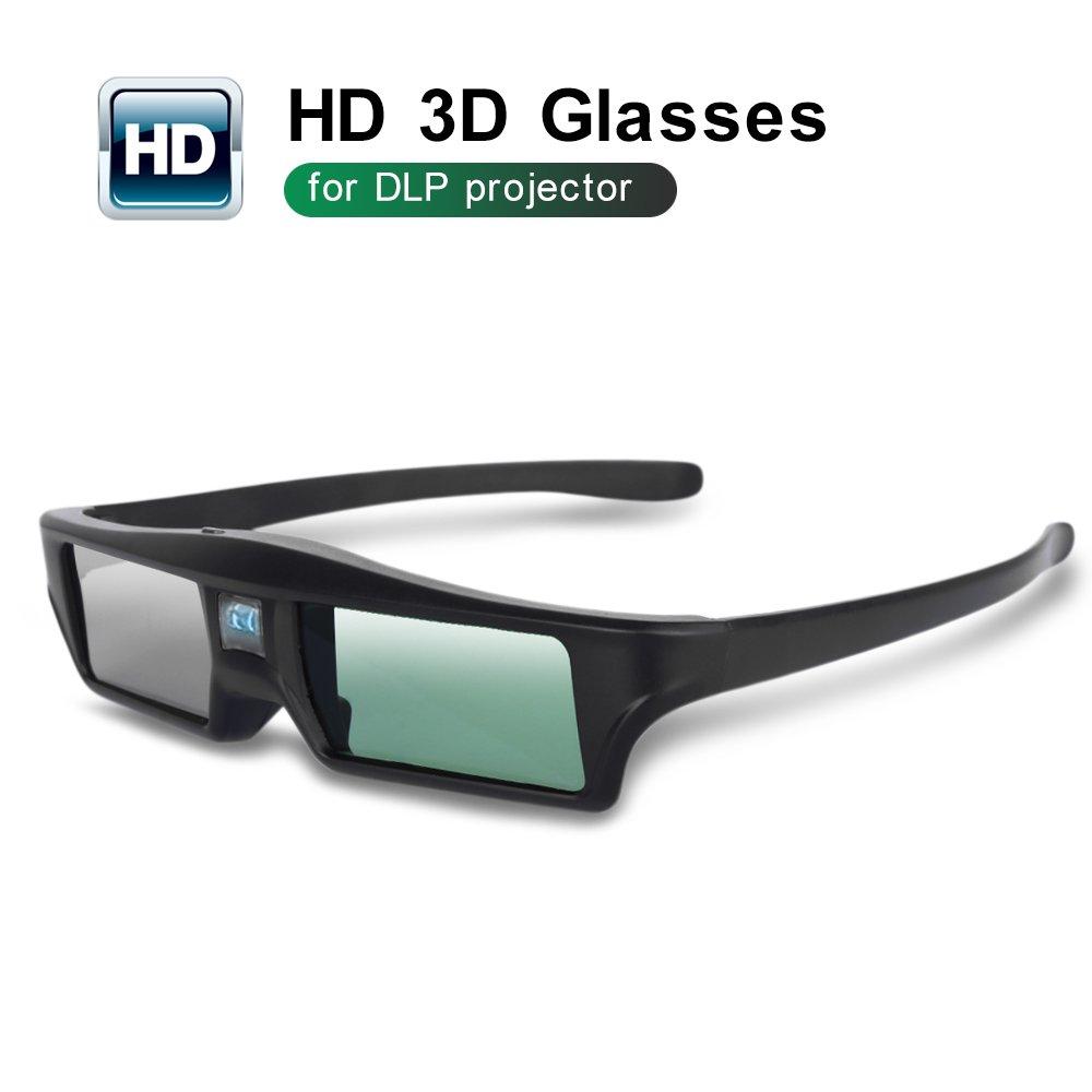 Foluu 3D Glasses DLP Active Shutter 3D Glasses Rechargeable Hi-Brightness Contrast Compatible with All 3D DLP Projectors