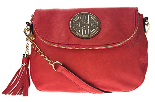 Canal Collection Multi Purpose Flap Top Crossbody Bag with Emblem (Coral) (Bag Tassel Top Zip)