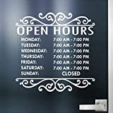 Jeyfel Decals. Custom Business Store Hours. Open Hours. Vinyl Die-Cut Sticker. Glass Window Decal. Door Sign. (14'' x 14'')