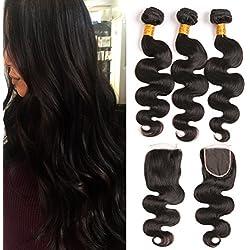 Body Wave Human Hair Mink Brazilian Hair Bundles With Closure Silk Piece 3 Bundles Of Hair Weave Remy Virgin Hair Extension Grade 8a Sale 16 18 20 + 14 inch