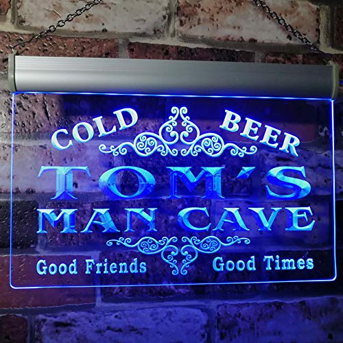 (x0154-tm Tom's Man Cave Beer Ale Bar Custom Personalized Name Neon Sign)