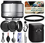 Sigma 19mm F2.8 DN Art Silver Lens for Sony E-Mount NEX (40S965) includes UV Ultraviolet Filter + Deluxe Cleaning Kit + Air Dust Blower + Cap Keeper Prints