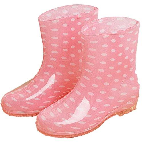Cheville Antidérapante Femmes Courtes Haute Caoutchouc Chaussures Bottes De Pluie Rose