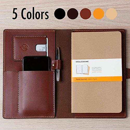 Coal Creek Leather Portfolio, Leather Journal for Moleskine 8.25 x 5 Notebooks - Wickett & Craig Full Grain Leather/Moleskine Notebook Case / JRNL1 / Personalized