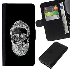 EJOY---La carpeta del tirón la caja de cuero de alta calidad de la PU Caso protector / LG OPTIMUS L90 / --Hombre barbudo Negro bosquejo blanco