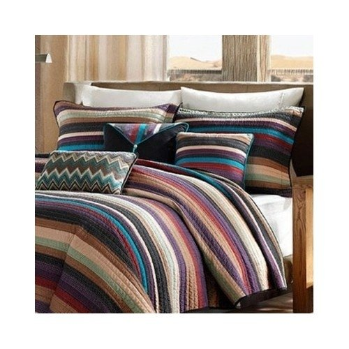 Modern Coverlet Bedding Set Brown Red Striped with