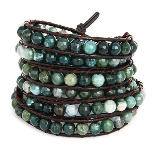 chen-rai-moss-colored-wrap-bracelet-on-brown-leather-cord