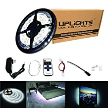 Uplights LED Strip Light 16.4ft 300leds Daylight White 6000K SMD3528 Led Tape Lights Full Kit with 11key IR Remote Controller Dimmer & 2A Power Supply for Home Lighting, Kitchen, Christmas, Indoor Decoration (Pure White Waterproof)