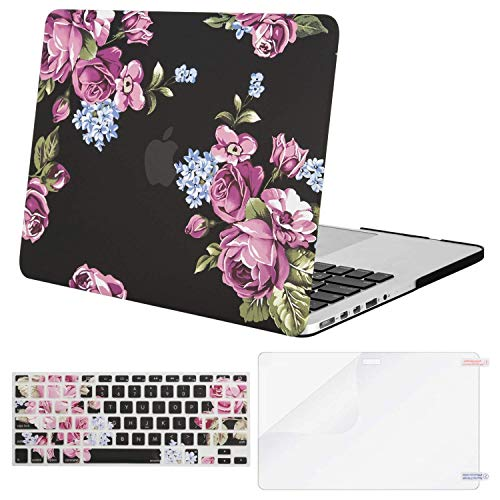 MOSISO Plastic Pattern Hard Case Only Compatible MacBook Pro (W/O USB-C) Retina 13 Inch (A1502/A1425)(W/O CD-ROM) Release 2015/2014/2013/end 2012 & Keyboard Cover & Screen Protector, Peony