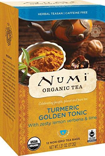 Numi Organic Tea Golden Tonic, 18 Count Box of Tea Bags, Turmeric - Tea Golden Erh Pu