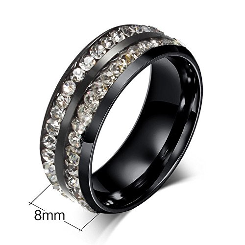 [Cosines Jewelry - Black Stainless Steel CZ Band Ring Men Women Fashion Party Size 7] (Good Guy Duo Costumes)