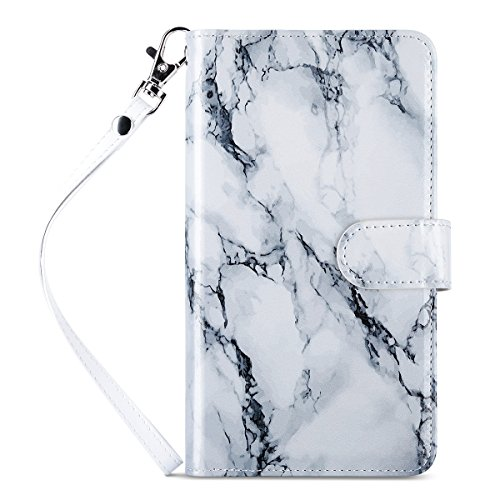 ULAK iPhone 6S Plus Wallet Case, iPhone 6 Plus Case,Multi Card Holders Slots Hybrid TPU Skin PU Leather Flip Wallet Case Cover for Apple iPhone 6/6s Plus 5.5inch Devices, Marble White
