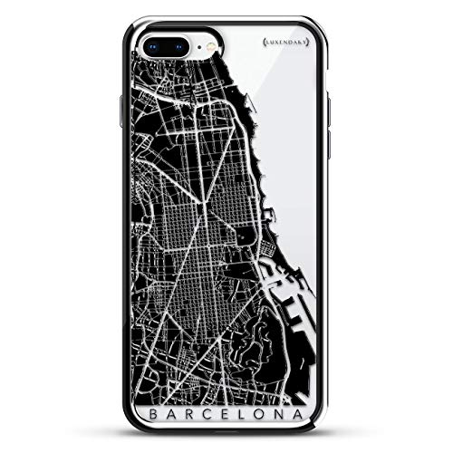 Barcelona Streets Map  | Luxendary Chrome Series designer case for iPhone 8/7 Plus in Silver ()