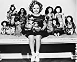 Shirley Temple Posing With Dolls B&W 16x20 Canvas Giclee