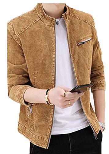 XiaoTianXin-men clothes XTX Mens Rugged Slim Stand Collar Zipper Front Trucker Denim Jean Jacket Light Tan X-Large