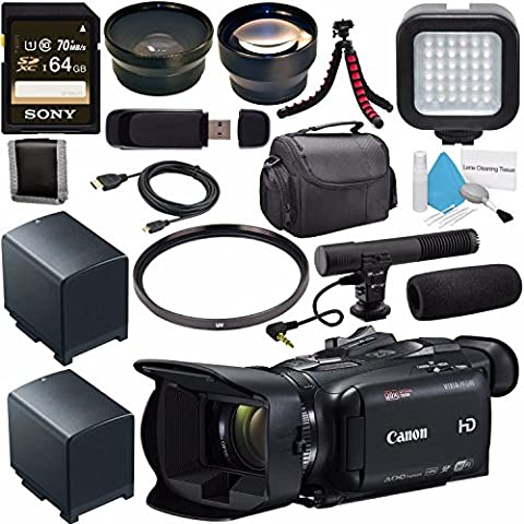Canon VIXIA HF G40 Full HD Camcorder 1005C002 + BP-820 Lithium Ion Battery Pack + Sony 64GB SDXC Card + 58mm UV Filter + 58mm Wide Angle Lens + 58mm 2x Lens + LED Light + Condenser Mic - Memory Lithium Ion Camcorder Battery