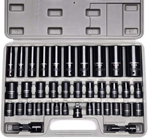 "CASOMAN Complete 3/8"" and 1/2"" Drive Impact Socket Set, Inch (SAE) /Metric, Cr-V, 6-Point, 3/8""- 1-1/4"", 8 mm - 24 mm, Deep & Shallow, 38-Piece Impact Socket Set"