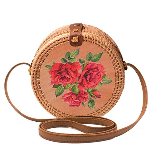 Natural Rattan - Handwoven Round Rattan Bag Shoulder Leather Straps Natural Chic Hand Gyryp (Leather buttons(pattern-rose))