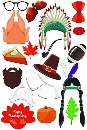 Happy Thanksgiving Native Indian Theme Photo Booth Props Size: 36x24in Made in USA