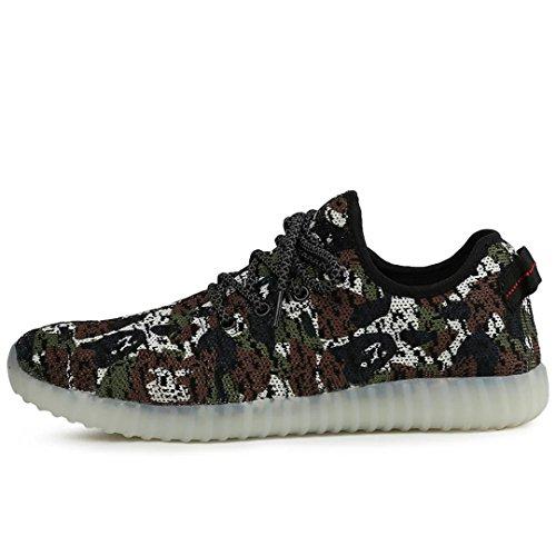 Joansam 7 Colores Led Luminous Unisex Sneakers Hombres Y Mujeres Luz De Carga Usb Colorido Brillante Ocio Intermitente Zapatos Zapatos Deportivos Marrón
