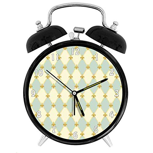 Happy-zhjX Retro Style Twin Bell Alarm Clock with Nightlight,4in,White Number Decoration-Traditional Royal Flower Pattern with Harlequin Rhombuses Pattern,for Home/Office (Harlequin Traditional Table Lamp)