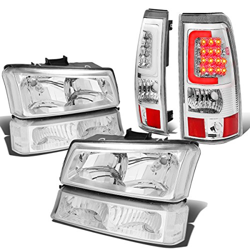 For Chevy Silverado 1st Gen 4pc Pair of Chrome Housing Clear Corner Headlight + Chrome Clear Lens 3D LED Tail Light