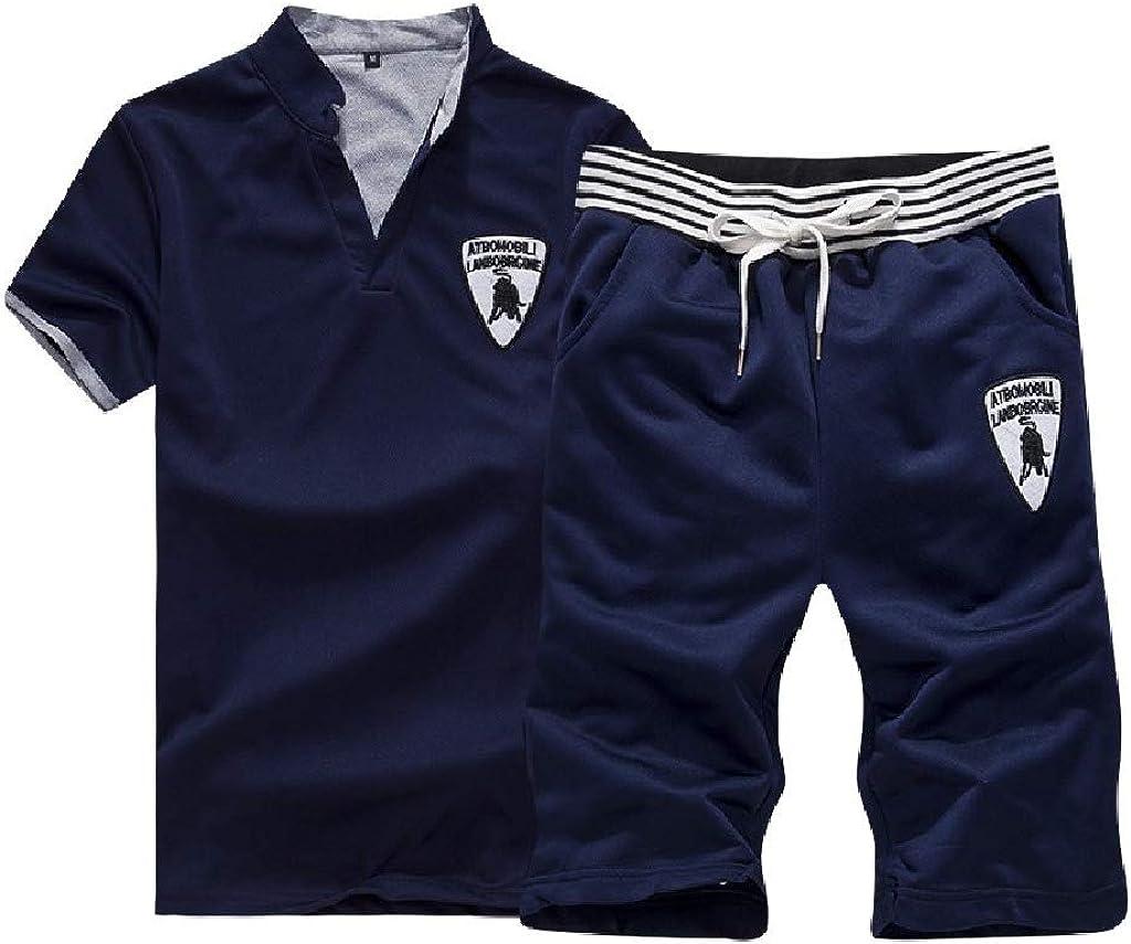 Comaba Mens Short-Sleeve Stitch Stand Collar Elastic T-Shirt Shorts Sets