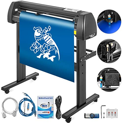 VEVOR Vinyl Cutter 34 Inch Plotter Machine Signmaster Software Sign Making Machine 870mm Paper Feed Vinyl Cutter Plotter with Stand (34Inch Style 1)