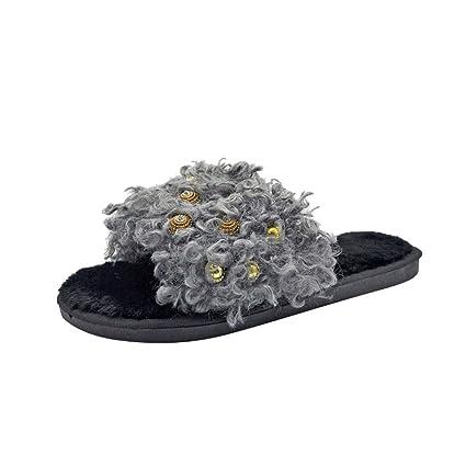 Zapatillas Pelo para mujer de hogar,Sonnena Zapatos cómodos de las mujeres de la moda