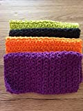 Cotton crochet dishcloths, set of four in Halloween colors