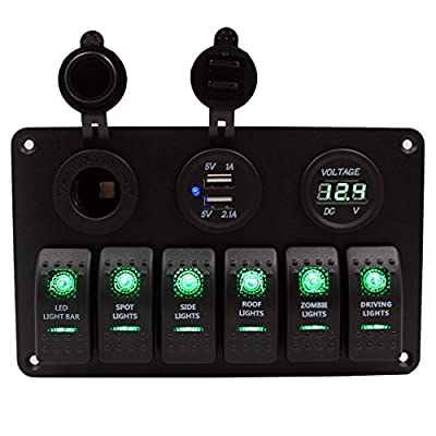 Purishion 6 Gang Rocker Switch Panel with Digital Voltmeter+12V power Socket +Double USB Power Charger Adapter Waterproof Blue LED Backlight for Car Trailer Marine Boat