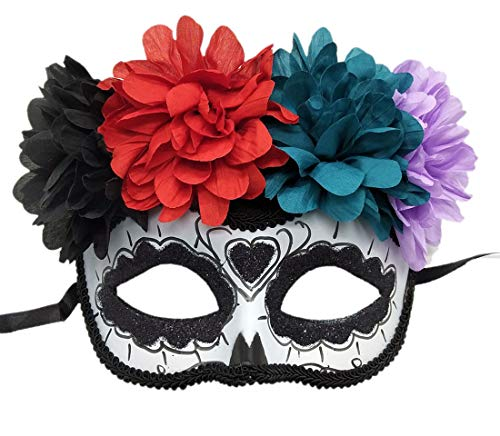 Women's Masquerade Mask Mexican Day of The Dead Sugar Skull Eyemask Masque Fancy Dress (ZA Black) -
