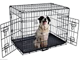 New 36″ Wire Folding Pet Crate Dog Cat Cage Suitcase Exercise Playpen