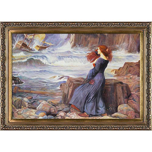 (overstockArt Miranda The Tempest Framed Oil Reproduction of an Original Painting by John William Waterhouse, Baroque Wood Frame, Antiqued Gold Finish )