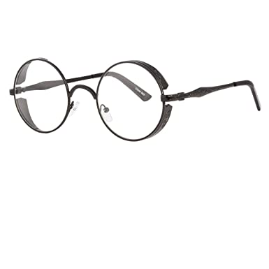 ebedf4369 Amazon.com: Black Gold Clear Lens Vintage Steampunk Gothic Side Shield Hipster  Round glasses: Clothing