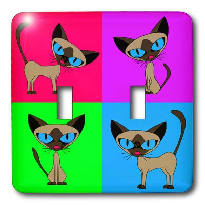 Design Double Toggle Switch - 3dRose LSP_6303_2 Siamese Cat Four Attitudes Design Double Toggle Switch, Multicolor