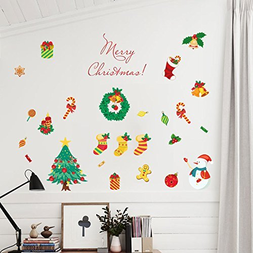 Yesfeel Christmas Wall Decals Stickers Ornaments For Living Room And Bedroom, Christmas Stockings,Santa Claus, Candy Cane, Waving Snowmen christmas wreath, Perfect Décor For Home and Shop Windows. by Yesfeel (Image #2)