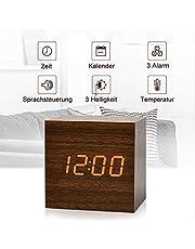 fomobest LED Wecker Wiederaufladbar Holz Tischuhr Klein Cube Datum/Temperatur Anzeige Digital Wecker